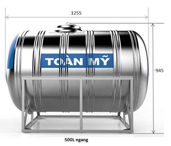 Bồn nước inox 500L ngang chính hãng Toàn Mỹ.